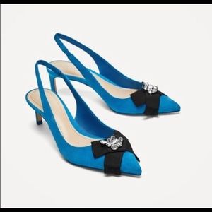 ZARA blue slinghback heels leather sole